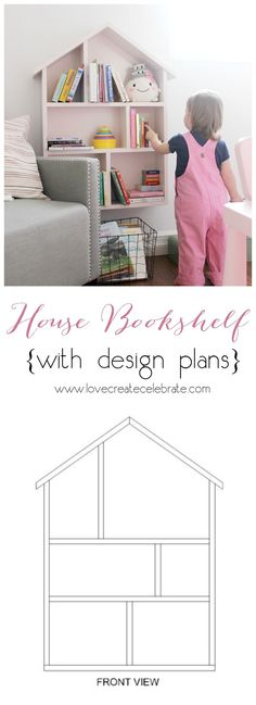 DIY House Bookshelf for your children's bedroom or playroom. Step-by-step tutorial, and design plans included!