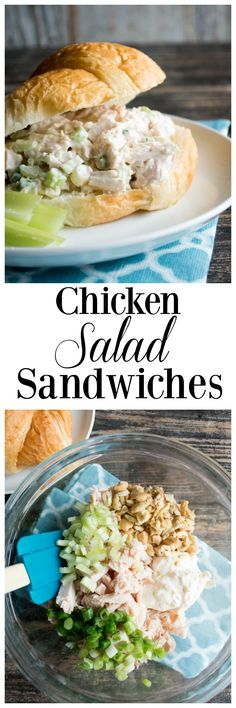 These chicken salad sandwiches are the BEST! Made with cashews for a little crunch, the flavor is spot on and perfect for lunch, or dinner. Great to serve at a picnic, and best on croissants!