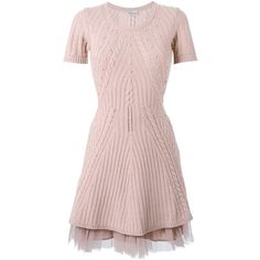 Red Valentino tulle insert knit dress (896 CAD) ❤ liked on Polyvore