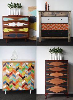 Relooker vos vieux meubles en bois avec de la peinture pastelle et des formes géométriques.
