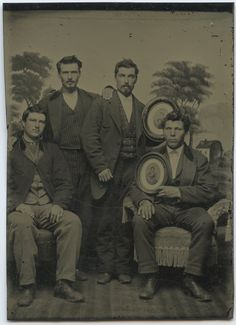 Victorian Mourning Men Brothers RARE Full Plate Tintype in 6th Plttintype Photo