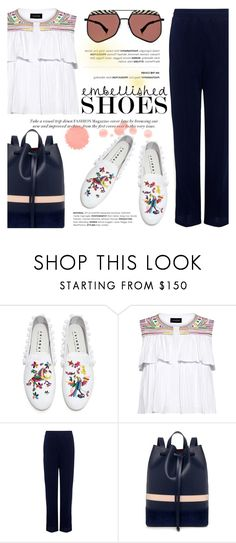"""Magic Slippers: Embellished Shoes"" by ifchic ❤ liked on Polyvore featuring Joshua's, Saloni, Ganni, Mother of Pearl, Grey Ant, contestentry, embellishedshoes and ifchic"