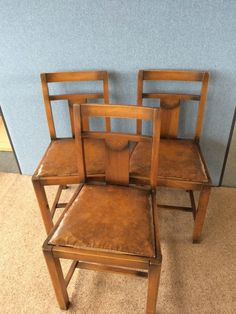 3 Antique Wooden Dining Chairs Ideal Restoration Or Shabby Chic Project