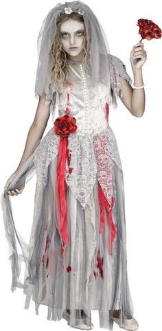 The Zombie Bride Girl Costume is a great scary outfit that can be worn for Halloween and other holidays. Ghost Bride Costume, Halloween Bride Costumes, Ghost Costumes, Cool Costumes, Costumes For Women, Halloween Party, Costume Ideas, Halloween Kids, Zombie Costumes
