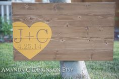 Wood Wedding Guest Book Alternative with by AmandaGdesigns on Etsy, $95.00