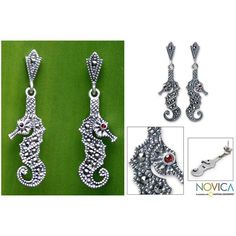 NOVICA Marcasite and Garnet Silver Earrings ($36) ❤ liked on Polyvore featuring jewelry, earrings, dangle, garnet, novica earrings, novica jewelry, seahorse stud earrings, seahorse earrings and garnet stud earrings
