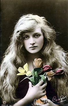 actress Dame Gladys Cooper and her lovely hair. She was born 1888 and last appeared with Robert Redford in The Twilight Zone 1962.