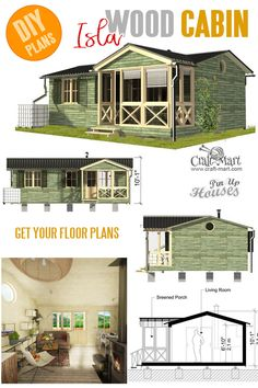 Woodworking Plans Lamp Small and tiny Home plans with cost to build - Cabin with Screened Porch Plans Isla.Woodworking Plans Lamp Small and tiny Home plans with cost to build - Cabin with Screened Porch Plans Isla Small Cabin Plans, A Frame House Plans, Small House Plans, House Floor Plans, Porch Plans, Shed Plans, Building Costs, Backyard Cottage, Shipping Container House Plans
