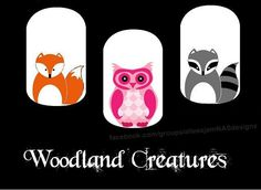 How adorable are these?!?! The Woodland Creatures Nail Art Studio (NAS) design I've created. Check out all my designs and how to order @ facebook.com/groups/alleesjamNASdesigns