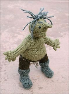 The troll is the grumpy curmudgeon of the group. His hobbies include hiding under bridges and occasionally eating goats. Learn How To Knit, How To Make, Monster, Fiber Art, Spinning, Annie, Ravelry, Affair, Knit Crochet