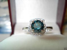 Diamond Engagement Ring Vivid Blue & White by JewelryByGaro, $1750.00