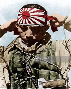News Photo : Japanese kamikaze putting on his forehead bandeau. Ww2 History, Asian History, Tudor History, British History, History Facts, Military History, Historical Women, Historical Photos, Kanji Tattoo