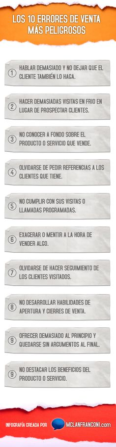 10 errores de venta más peligrosos #infografia #infographic #marketing