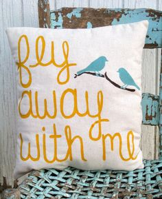 Fly away with me pillow with two birds on limb -great housewarming gift for new couple. comfy rustic pillow