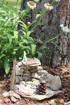 """Gnome House - cute idea! Would be a good idea for an outside craft with my DD this summer...more """"found objects"""" than """"Tinkerbell"""" though."""