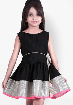Black Casual Dress A beautiful pick for your daughters upcoming birthday party is this beautiful black frock from KU. Best flaunted with pretty sandals, this frock will also offer her oodles of comfort, courtesy its cotton silk fabric. http://jbo.ng/vFkkj4R