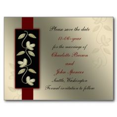 ivory and red elegant floral save the date postcard