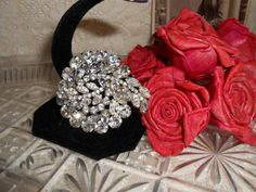 Rhinestone Brooch 1940s Hollywood Glamour by LittleBitsofGlamour, $35.00