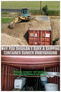 Why You Shouldn't Bury A Shipping Container Bunker Underground - After reading a few articles and watching quite a lot of videos I have learned that, if done incorrectly, a shipping container can get crushed even with as little as 18 inches of soil over Survival Shelter, Survival Prepping, Emergency Preparedness, Survival Skills, Homestead Survival, Underground Shelter, Underground Homes, Casas Containers, Root Cellar