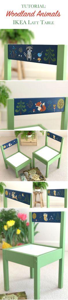 Woodland animals IKEA Latt table hack tutorial.