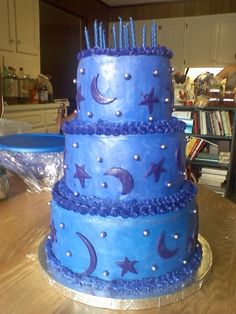 Moon & Stars Birthday Cake