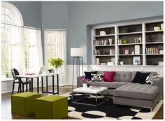 Lush Blue Gray Living Room Benjamin Moore Van Courtland Blue (walls) Stone  Brown (behind Shelves)