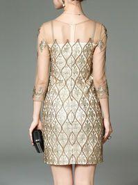 Embroidered Mesh Paneled Mini Dress