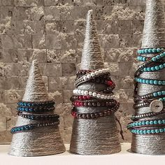 Hemp Jewelry Display Cones - Detail You are in the right place about jewelry diy bracelets leather H Hemp Jewelry, Cute Jewelry, Jewelry Shop, Handmade Jewelry, Jewelry Making, Jewelry Tags, Silver Jewelry, Kids Jewelry, Steel Jewelry