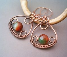 Wire Wrapped Earrings Copper and FireCrackle Agate by GearsFactory, €18.00