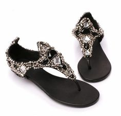 European and American star handmade gem stones Romans clip flat-bottomed of beaded flip Diamonds sandals toe shoes-ZZKKO