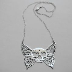 Butterfly Skull Necklace now featured on Fab.