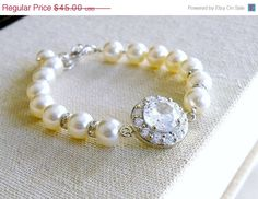 35% Off Sale Bridal CZ Bracelet CZ Ivory Swarovki by SomsStudio