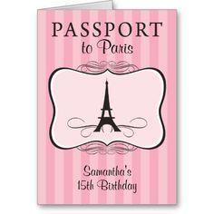 15TH Birthday Paris Passport Invitation Greeting Cards