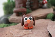 Woodland Owl Polymer Clay Terrarium Accessory by GnomeWoods