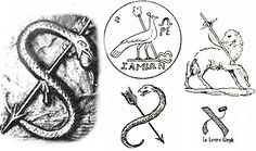 Cagliostro's seal, on the top if his silver serpent cane.