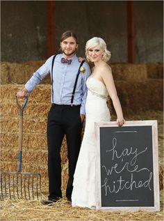 Hay, we're hitched! This is a great photo prop! #Wedding #CountryWedding #Photos #Bride #Groom