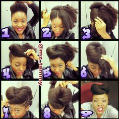 Up do tutorial with natural hair. Can be done with undercut.