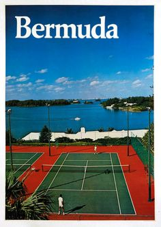 Tennis. Mounted on linen. For sale on lushergallery.com. #bermuda #vintageposter #tennis #lushergallery