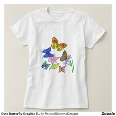 Cute Butterfly Graphic Print T Shirt