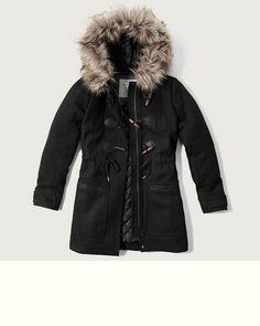 Womens Hooded Wool Duffle Jacket