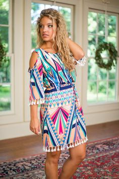Geo Aztec Dress, Peach