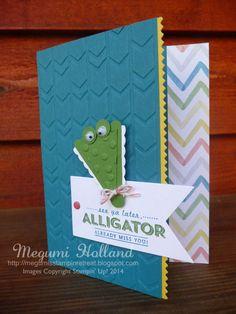 Megumi's Stampin Retreat: See Ya Later - Alligator Punch Art Card