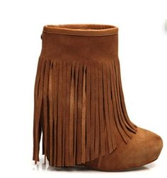 I am dying over these...Koolaburra Veleta Wedge Ankle Boot with Floor-length Fringe in Chesnut
