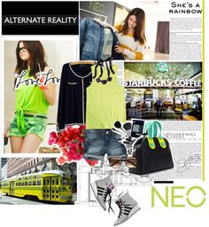 """""""neon it up with selena!"""" by pinky-shimmer ❤ liked on Polyvore"""