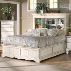 Bookshelf Headboard platform beds with storage | monterey storage platform bed w