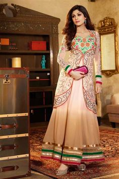 Mesmerizing Shilpa Shetty Georgette Ivory Floor Touch Anarkali Suit