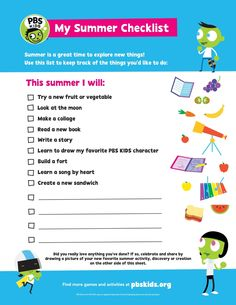 PBS KIDS Summer Checklist   Kids Coloring Pages   PBS KIDS for Parents