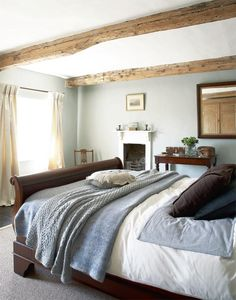 Modern Country Style: Farrow and Ball Light Blue painted bedroom
