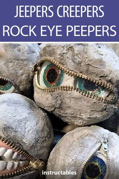 Jeepers Creepers Rock Eye Peepers Decorate your yarn or patio for Halloween (or all year round) with these creepy concrete Jeepers Creepers Rock Eye Peepers. The post Jeepers Creepers Rock Eye Peepers appeared first on Halloween Crafts. Jeepers Creepers, Halloween Designs, Diy Halloween Decorations, Garden Decorations, Holidays Halloween, Fall Halloween, Halloween Crafts, Halloween Stuff, Halloween Ideas