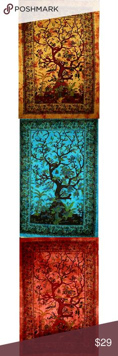 Tree of Life Birds Tapestry Heavenly Tree of Life tapestry with gorgeous floral designs and borders.  Available in four rich colors. Display as wall art, bed or table decorative covers, dorm rooms, yoga/ meditation rooms, or personal blankets. Bring them along at concerts and other outside events, it's all up to you!  *Twin Size *100% Cotton & Handcrafted with natural dyes Other